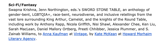 a screenshot of the anthology announcement in Publishers Weekly