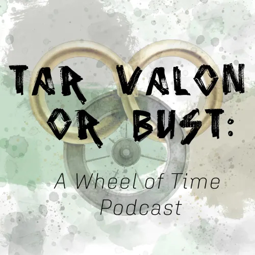 the Wheel of Time logo against a watercolor background with light greens, browns, and grays, with the name of the show superimposed on top
